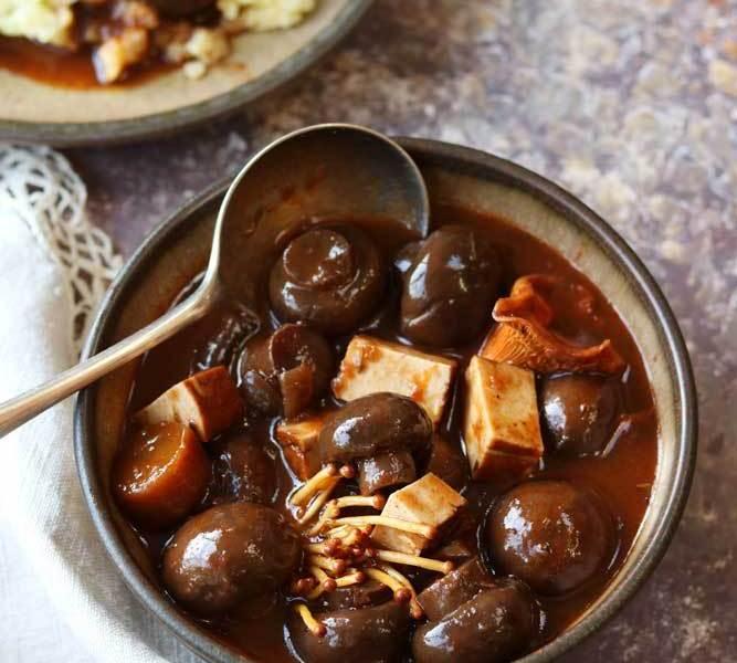 Mushroom and tofu bourguignon stew in a bowl