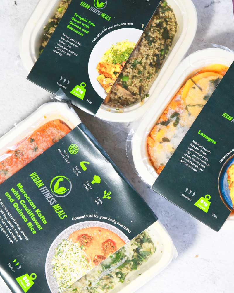 Three Vegan healthy ready meals by Vegan Fitness Meals