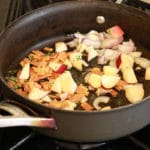 Omelette filling in the pan: Apple, Onion, Vegan bacon & thyme