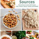Collage of vegan dishes high in protein