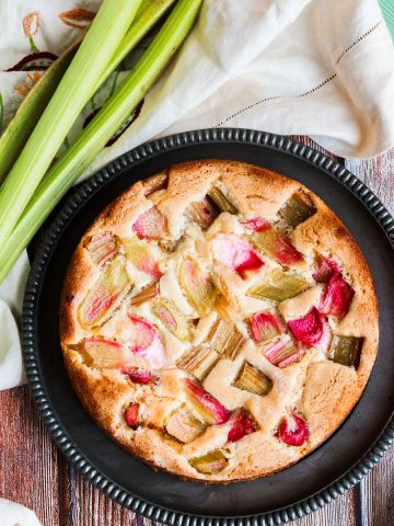 Rhubarb cake on a plate ready to serve