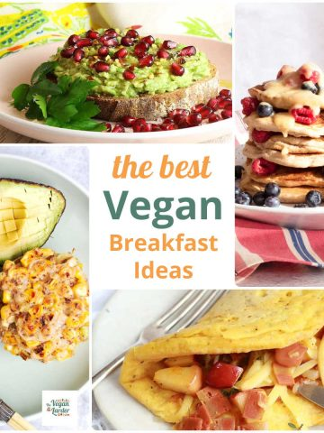 Collage showing images of vegan breakfast recipes