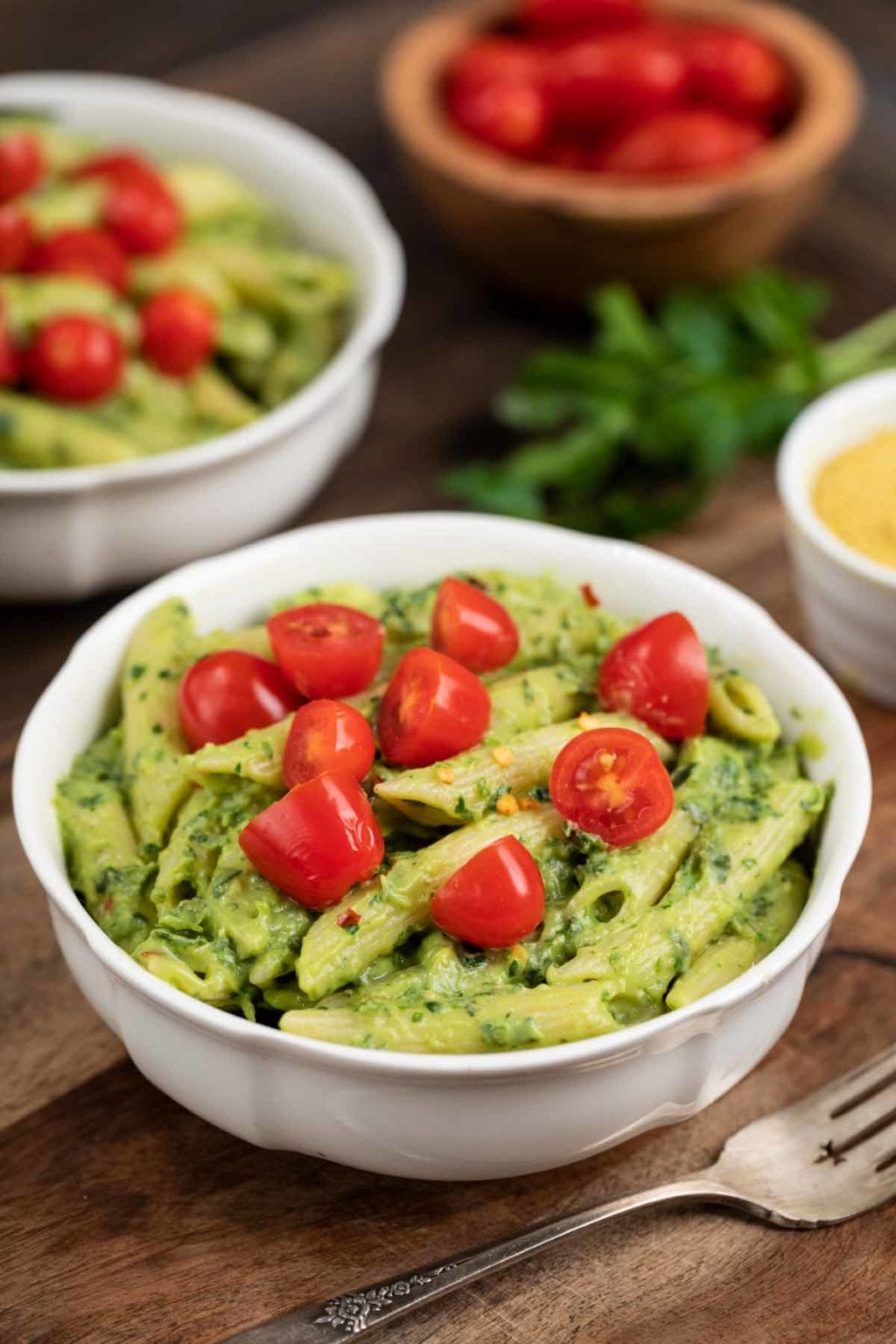 Avocado pasta in a bowl