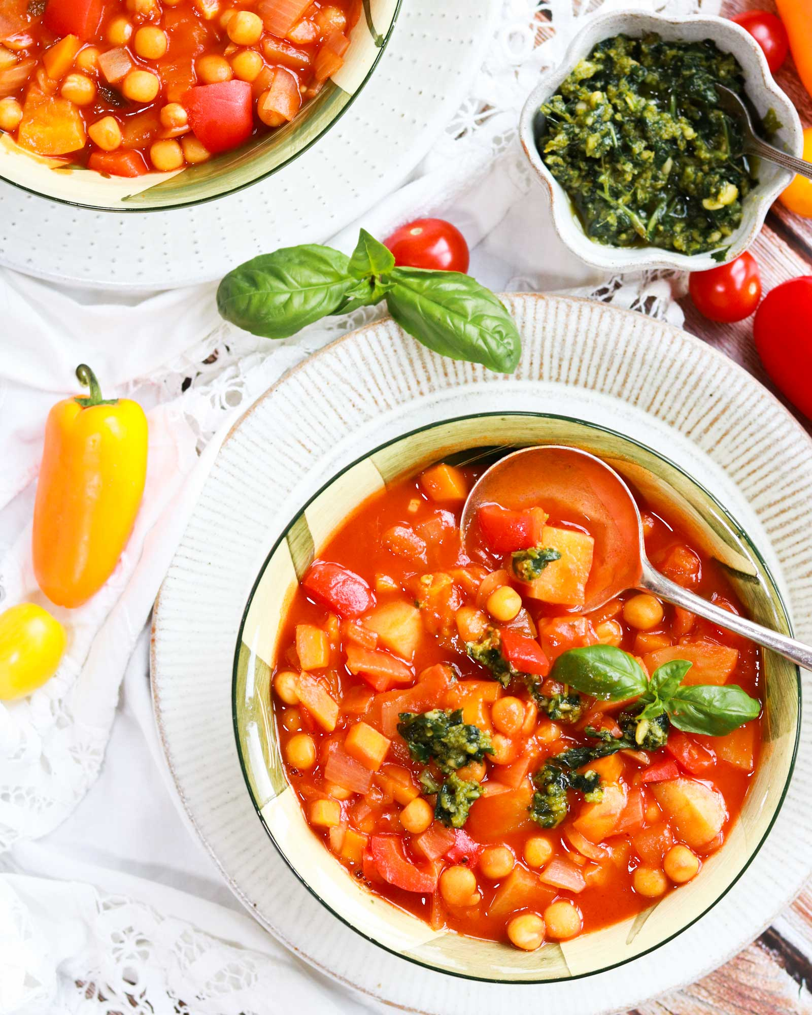 Chickpea Summer Stew with pesto