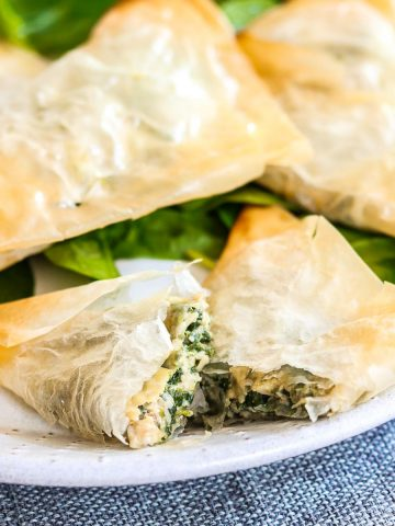 Vegan Cheesy Spinach Triangles