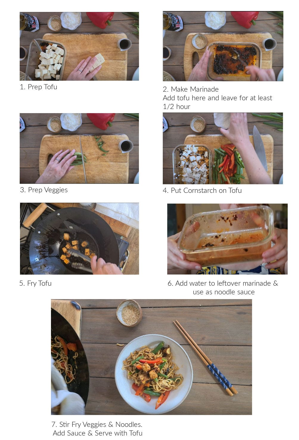 Instruction images for How to make Crispy Black Bean Tofu