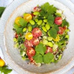 Quinoa Tabbouleh Salad with Edamame beans in a bowl