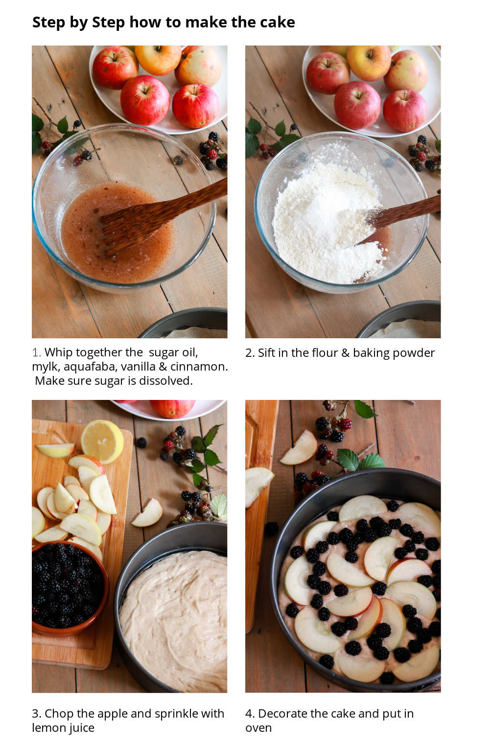 Visual Step by step instructions for the cake