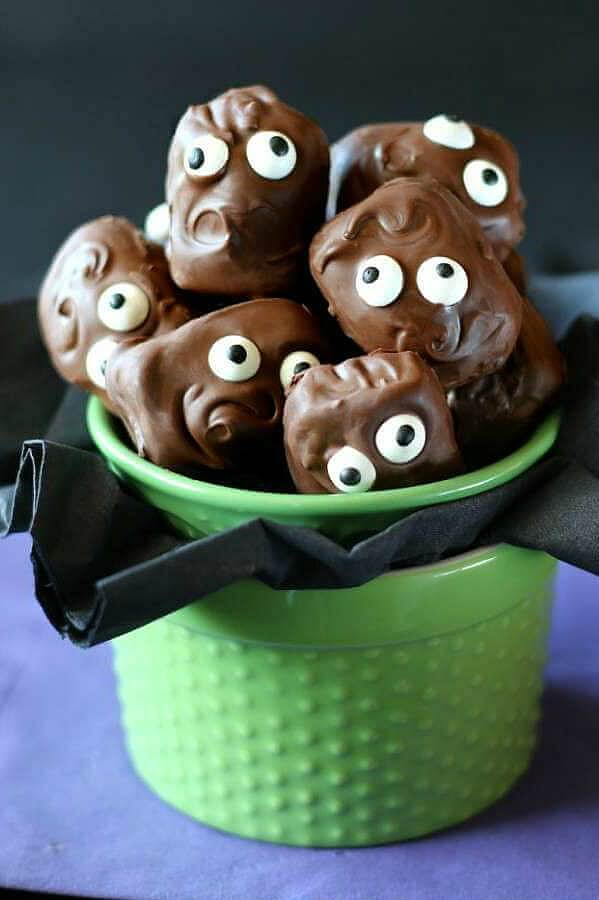 ALmond Joy mini monsters in a cup.