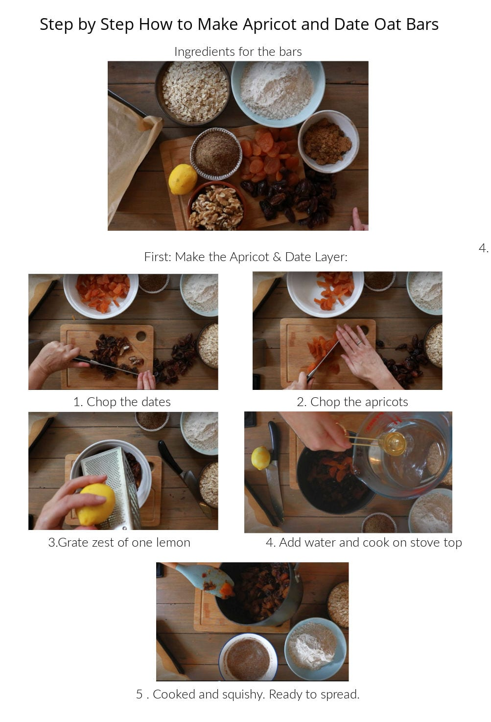 Collage of how to make the vegan date barss