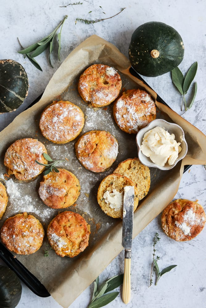 Pumpkin and Sage Scones on a tray