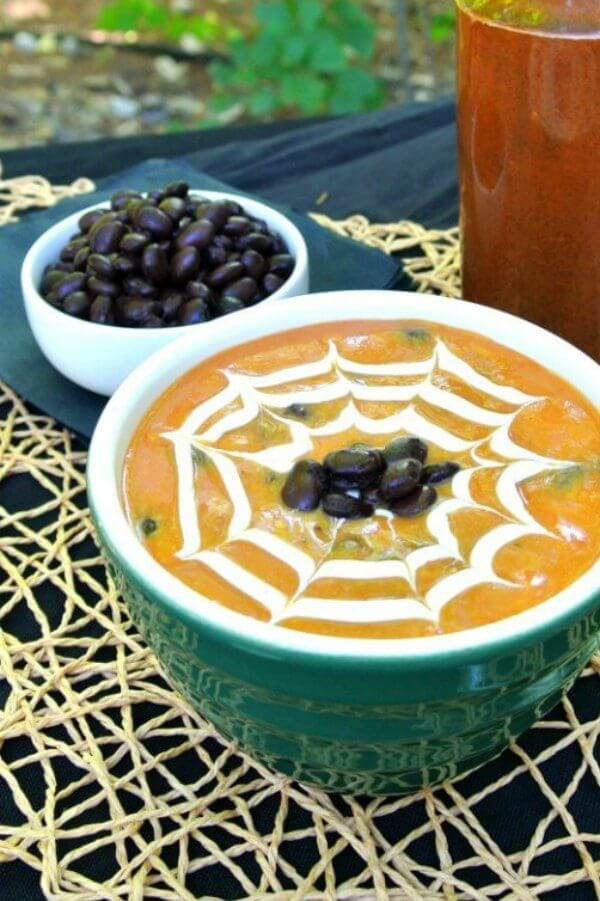 Spooky Soup with a spider web on it
