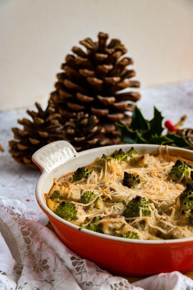 A dish of Romanesco cauliflower in vegan cheese
