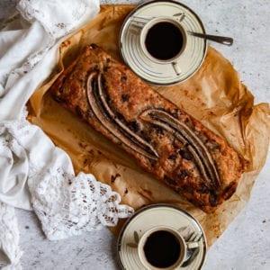 vegan chocolate banana bread out of the tin