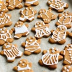 Vegan gingerbread men decorated with icing for Christmas