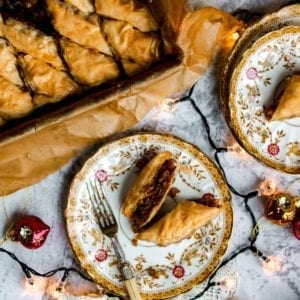 Mince Pie Baklava in a tin and on a plate