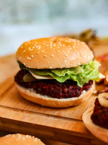 Lentil and Beetroot Burgers in a bun