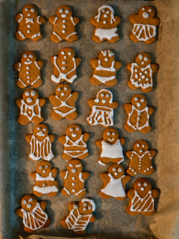 Vegan Gingerbread People on a tray.