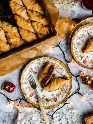 Mince Pie Baklava on a plate.