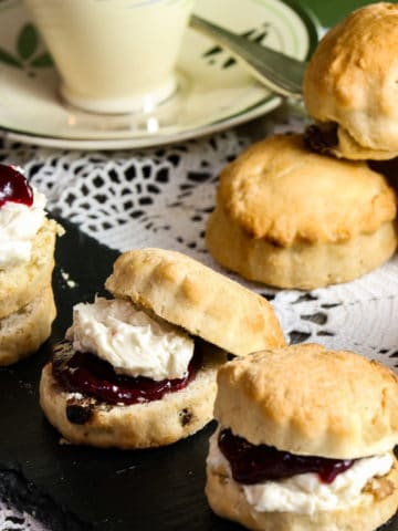 Scones with jam and vegan clotted cream.
