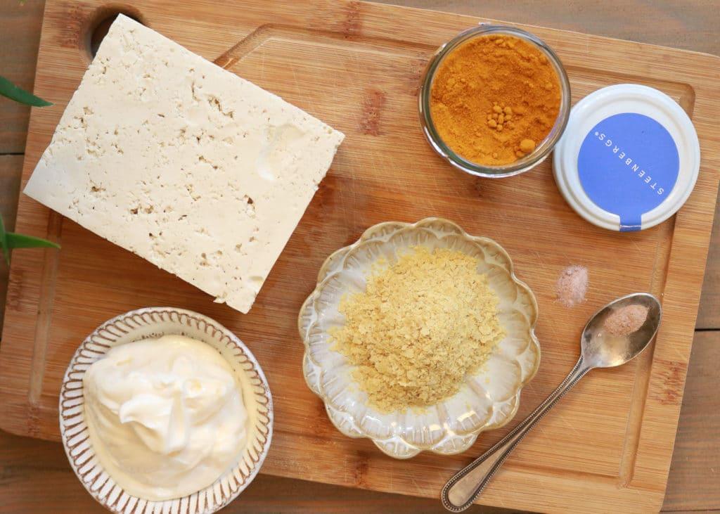 Image of Vegan Tofu egg salad ingredients.