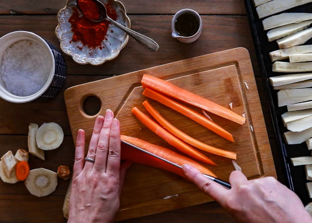Image showing cutting he carrots into long strips.