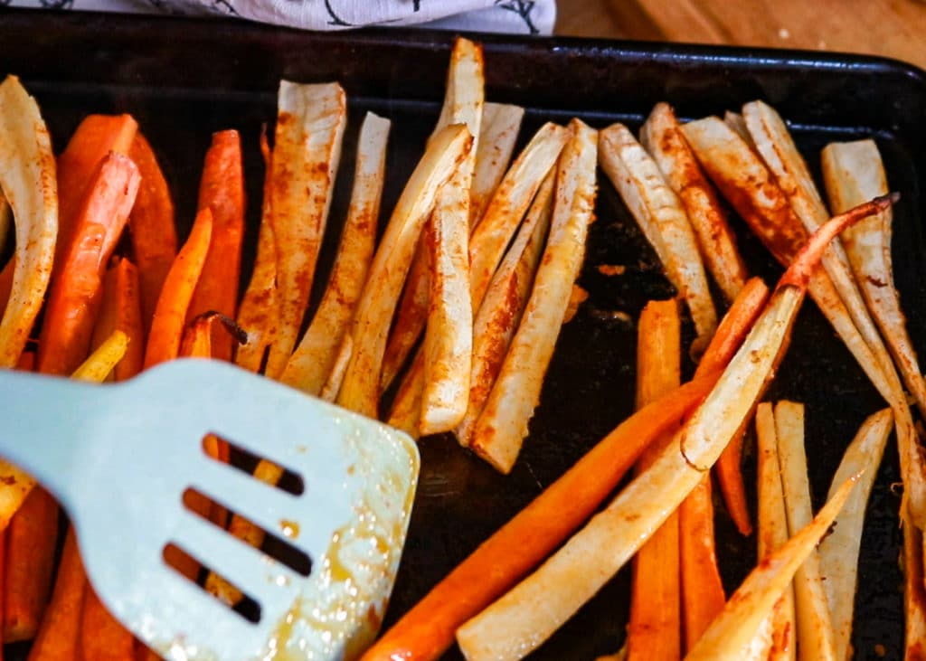 Image showing fries going into the oven.