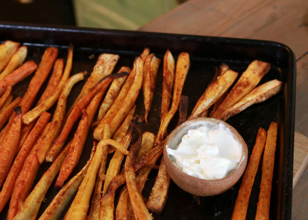 image showing fries out of the oven and ready to eat.