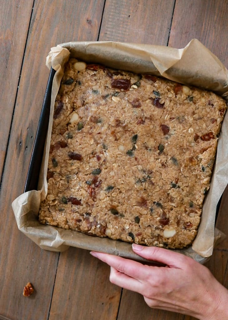 How To Image: Make sure the flapjack mix is nice and even, then put into a 200c oven for 15 minutes.