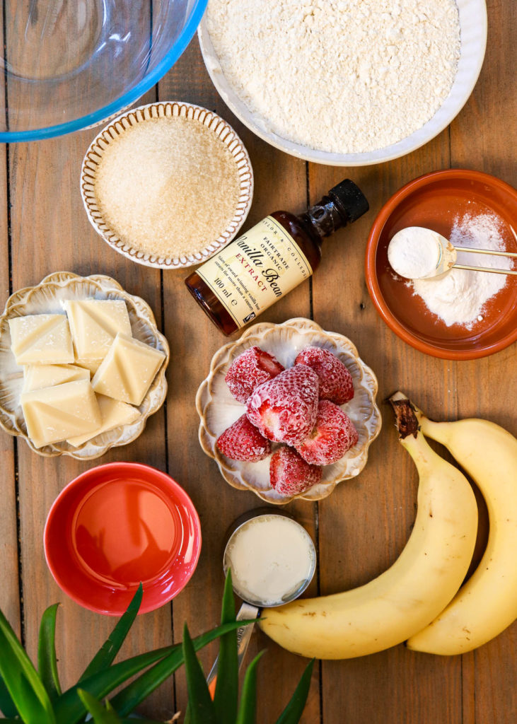 Ingredients for Strawberry White Chocolate Banana Bread.
