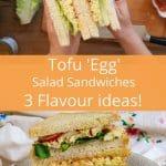 Stack of vegan egg salad sandwiches image for pinterest.