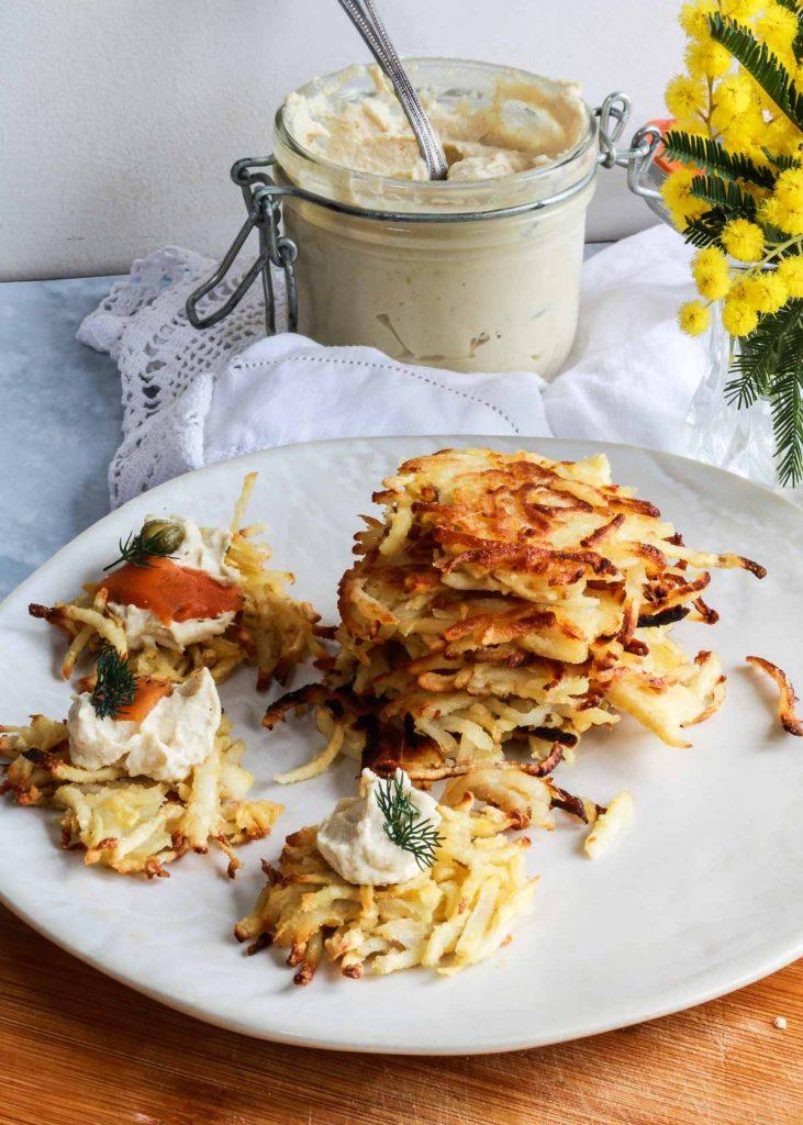 Parsnip and potato latkes on a plate