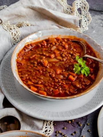 Close up photo of the lentil tomato soup.