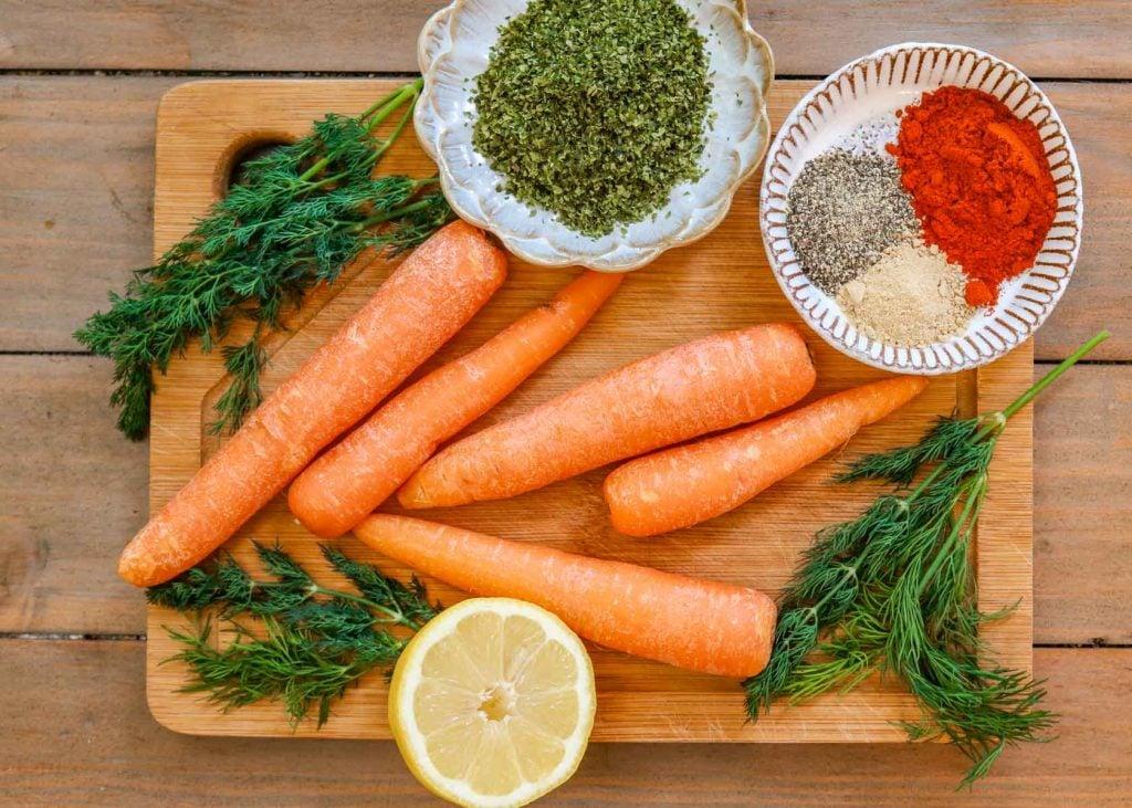 Ingredients for the Carrot Lox: Carrot, lemon, nori flakes, smoked paprika, garlic powder & pepper.