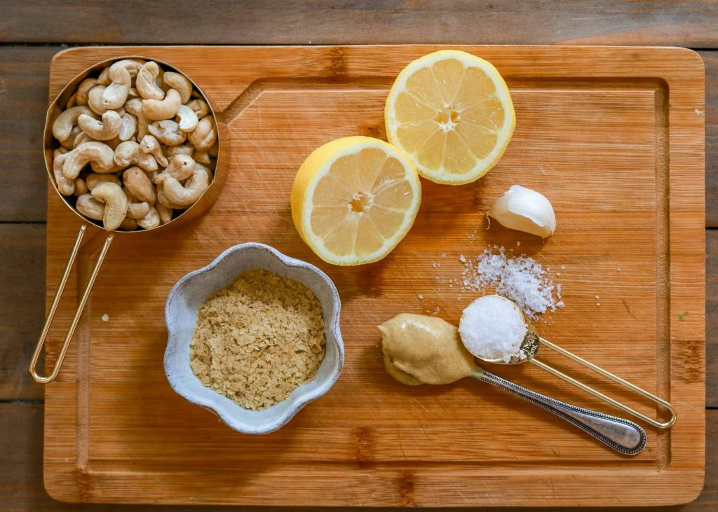 Cashews, nutritional yeast, mustard, lemon juice, garlic and salt
