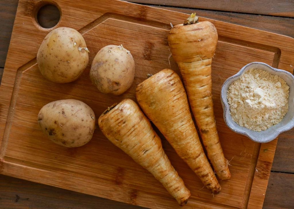 Parsnips, potatoes and chickpea flour