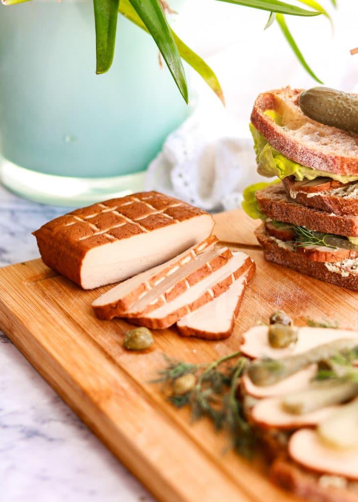 Smoked Tofu sliced up ready to go on sandwich