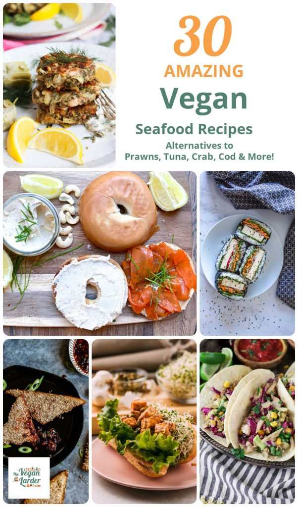Different images of vegan seafood dishes