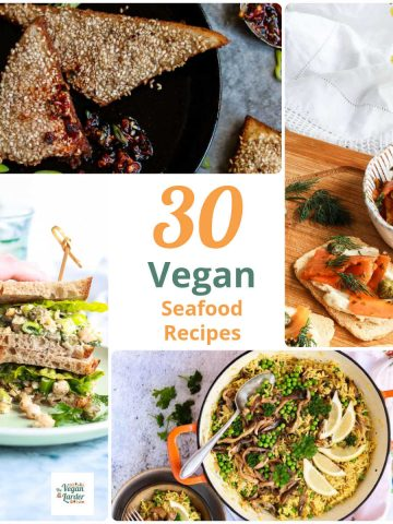 Images of vegan fish and vegan seafood