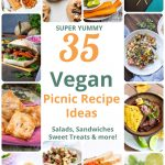 Collage of images of different vegan picnic ideas