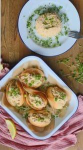 vegan crab salad in dishes