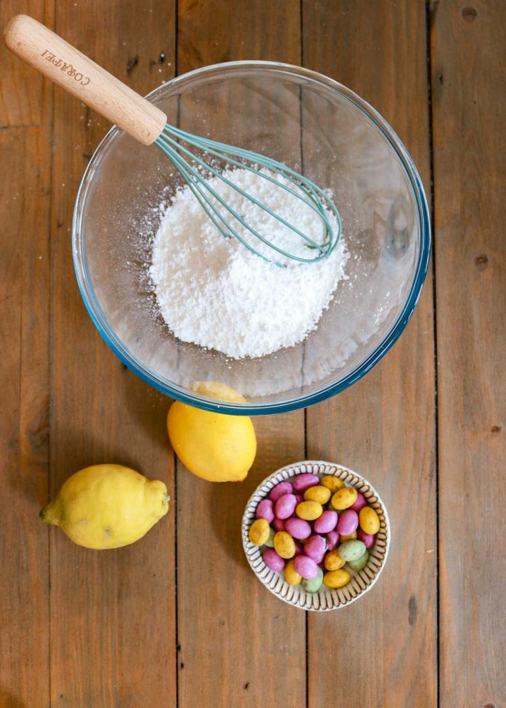 To make the icing, Whisk the lemon juice into the icing sugar.