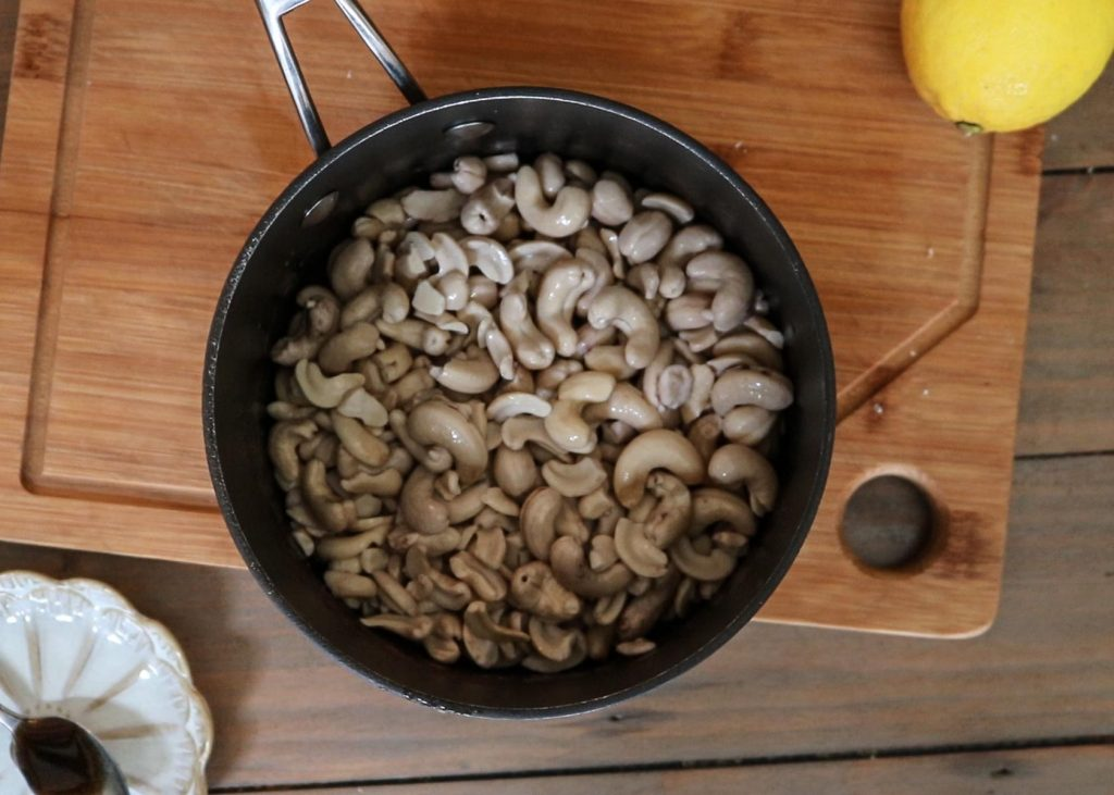 Cashews in a pan