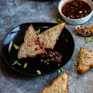 Vegan Sesame Prawn toasts on a plate