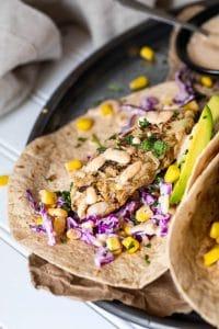 Vegan fish tacos with salad