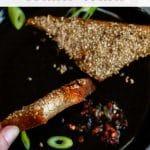 Vegan Prawn Toasts with description for Pinterest