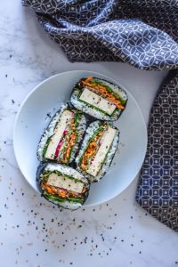 vegan sushi on a plate with tofu as the vegan fish