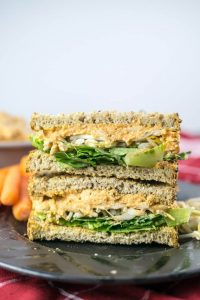Stack of vegan pimento cheese sandwiches