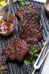 BBQ Seitan Chicken on a gril