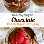Vegan Chocolate Black Bean mousse in a little glass with raspberries on top.